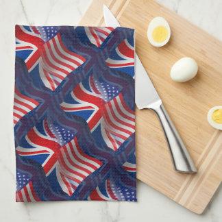 Bandera que agita Británico-Americana Toalla De Cocina