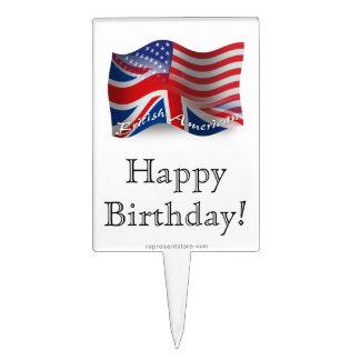 Bandera que agita Británico-Americana Palillos De Tarta