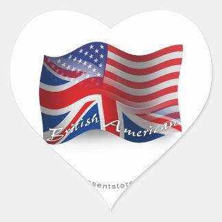 Bandera que agita Británico-Americana Pegatina En Forma De Corazón