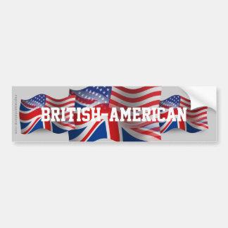 Bandera que agita Británico-Americana Pegatina Para Auto