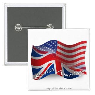 Bandera que agita Británico-Americana Pin Cuadrado