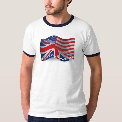 Bandera que agita Británico-Americana Playera