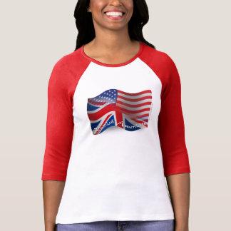 Bandera que agita Británico-Americana Camisetas