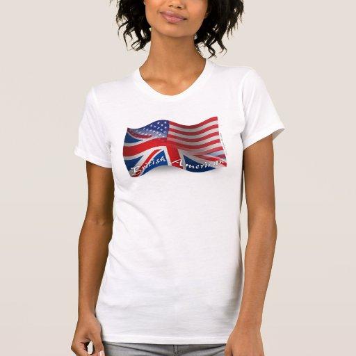 Bandera que agita Británico-Americana Poleras