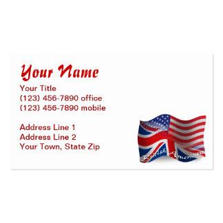 Bandera que agita Británico-Americana Tarjetas De Visita