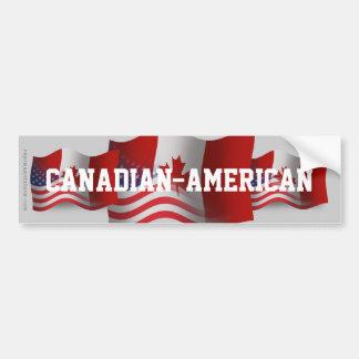 Bandera que agita Canadiense-Americana Pegatina De Parachoque