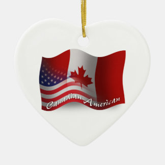 Bandera que agita Canadiense-Americana Adorno De Cerámica En Forma De Corazón