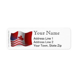 Bandera que agita Canadiense-Americana Etiquetas De Remite