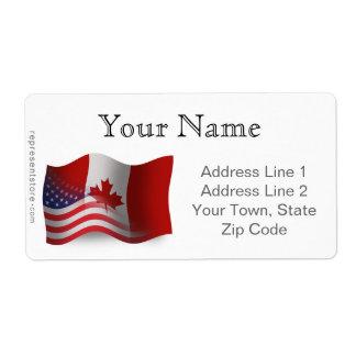 Bandera que agita Canadiense-Americana Etiqueta De Envío
