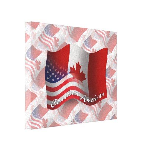 Bandera que agita Canadiense-Americana Impresión En Lienzo