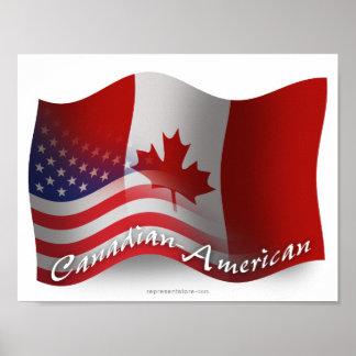 Bandera que agita Canadiense-Americana Poster