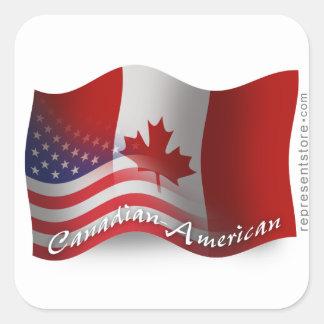 Bandera que agita Canadiense-Americana Pegatina Cuadrada