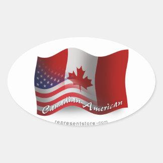 Bandera que agita Canadiense-Americana Pegatina Ovalada