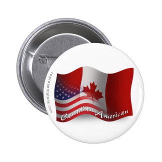 Bandera que agita Canadiense-Americana Pin Redondo De 2 Pulgadas
