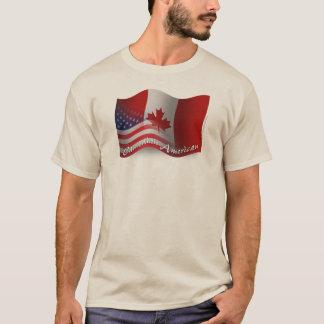 Bandera que agita Canadiense-Americana Playera