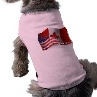 Bandera que agita Canadiense-Americana Playera Sin Mangas Para Perro