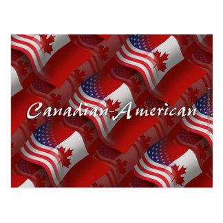 Bandera que agita Canadiense-Americana Tarjetas Postales
