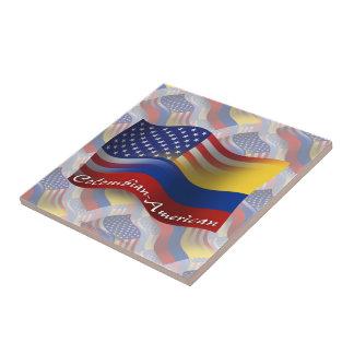 Bandera que agita Colombiano-Americana Azulejo Cuadrado Pequeño