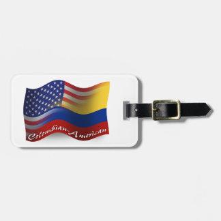 Bandera que agita Colombiano-Americana Etiqueta Para Maleta