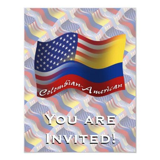 """Bandera que agita Colombiano-Americana Invitación 4.25"""" X 5.5"""""""