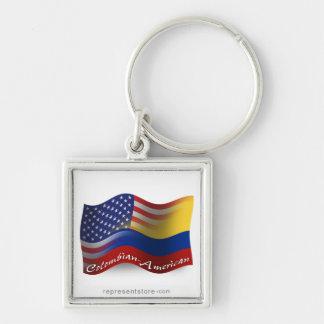 Bandera que agita Colombiano-Americana Llavero Cuadrado Plateado