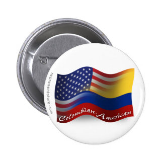 Bandera que agita Colombiano-Americana Pin Redondo De 2 Pulgadas