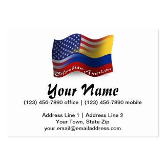 Bandera que agita Colombiano-Americana Tarjetas De Visita Grandes