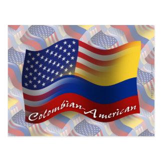 Bandera que agita Colombiano-Americana Tarjetas Postales