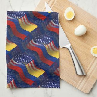 Bandera que agita Colombiano-Americana Toallas De Cocina