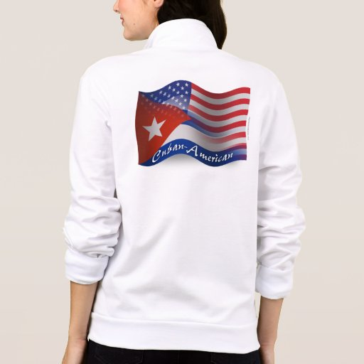 Bandera que agita Cubano-Americana Chaqueta Deportiva Imprimida