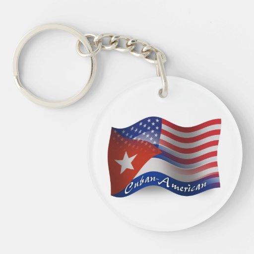 Bandera que agita Cubano-Americana Llavero