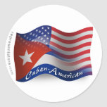 Bandera que agita Cubano-Americana Pegatina Redonda
