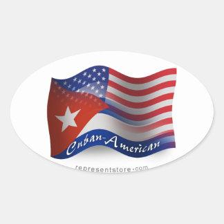 Bandera que agita Cubano-Americana Pegatina Ovalada