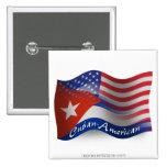 Bandera que agita Cubano-Americana Pin Cuadrado