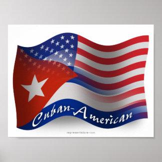Bandera que agita Cubano-Americana Póster