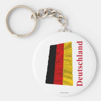 Bandera que agita de Alemania con nombre en alemán Llavero Redondo Tipo Pin