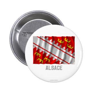 Bandera que agita de Alsacia con nombre Pin Redondo De 2 Pulgadas