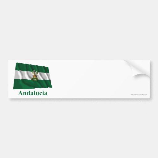 Bandera que agita de Andalucía con nombre Pegatina Para Auto