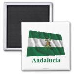 Bandera que agita de Andalucía con nombre Imán Cuadrado