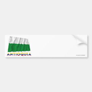 Bandera que agita de Antioquia con nombre Etiqueta De Parachoque