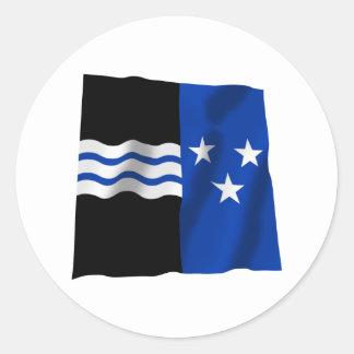 Bandera que agita de Argovia Pegatina Redonda