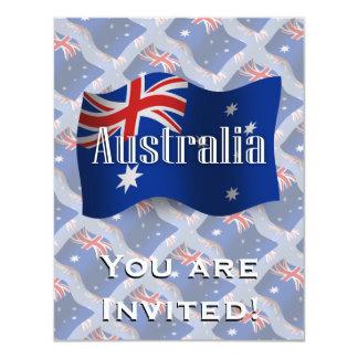 """Bandera que agita de Australia Invitación 4.25"""" X 5.5"""""""