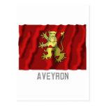 Bandera que agita de Aveyron con nombre Tarjeta Postal