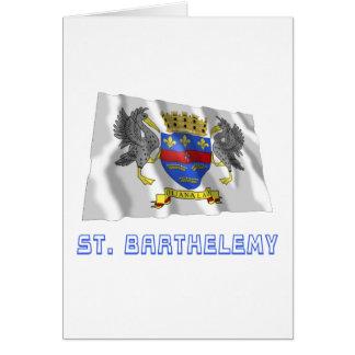 Bandera que agita de Barthelemy del santo con Tarjeta De Felicitación