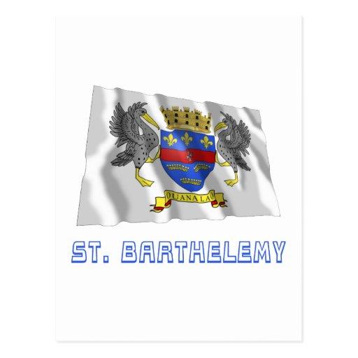 Bandera que agita de Barthelemy del santo con Postal