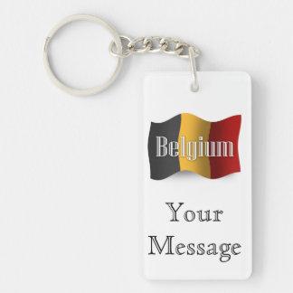 Bandera que agita de Bélgica Llavero Rectangular Acrílico A Doble Cara
