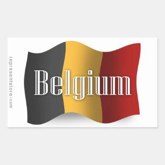 Bandera que agita de Bélgica Pegatina Rectangular