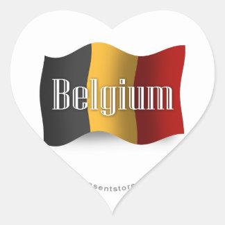 Bandera que agita de Bélgica Pegatina En Forma De Corazón