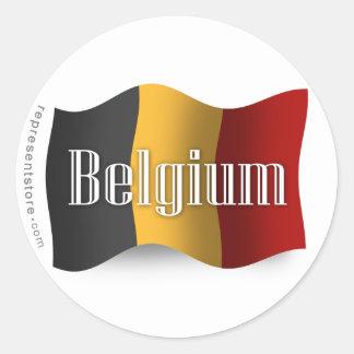 Bandera que agita de Bélgica Pegatina Redonda