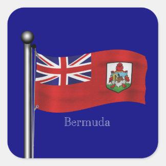 Bandera que agita de Bermudas Calcomania Cuadradas